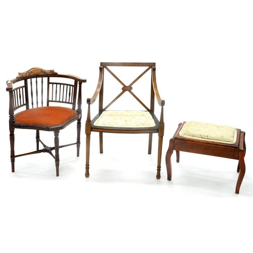 832 - AN EDWARDIAN INLAID MAHOGANY CORNER CHAIR, A CONTEMPORARY MAHOGANY AND SATINWOOD BANDED ELBOW CHAIR,...