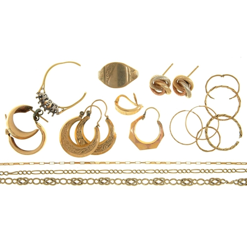 84 - MISCELLANEOUS GOLD JEWELLERY, 15G...