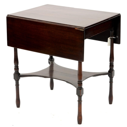 849 - A MAHOGANY PEMBROKE TABLE, 19TH C, ON BALUSTER LEGS, 70CM H; 65 X 94CM...