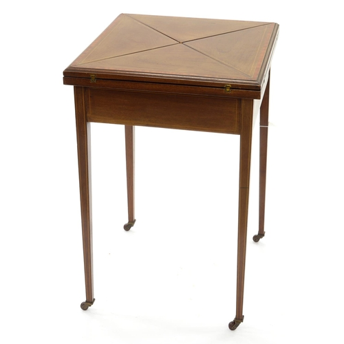 851 - A VICTORIAN MAHOGANY, SATINWOOD AND LINE INLAID CARD TABLE, C1900, WITH 'ENVELOPE' TOP, ON SQUARE T...