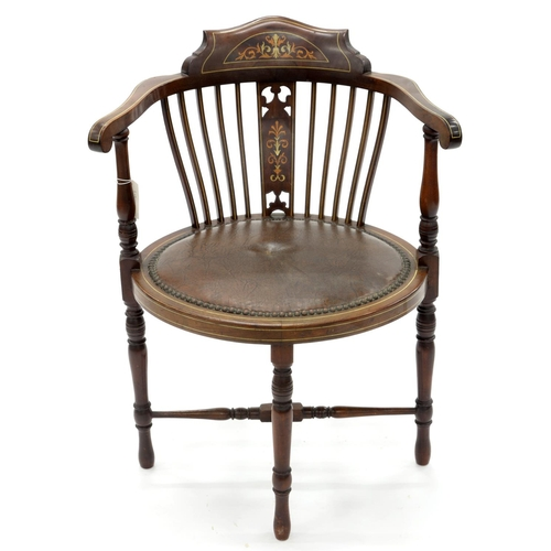 852 - AN EDWARDIAN MAHOGANY AND INLAID SALON CHAIR, C1900, WITH CLOSE NAILED, PADDED OVAL SEAT, ON TURNED ...