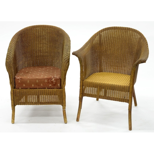 854 - A LLOYD LOOM CHAIR AND A SIMILAR CONTEMPORARY TUB CHAIR, C1930, SEAT HEIGHT 40CM AND SMALLER...