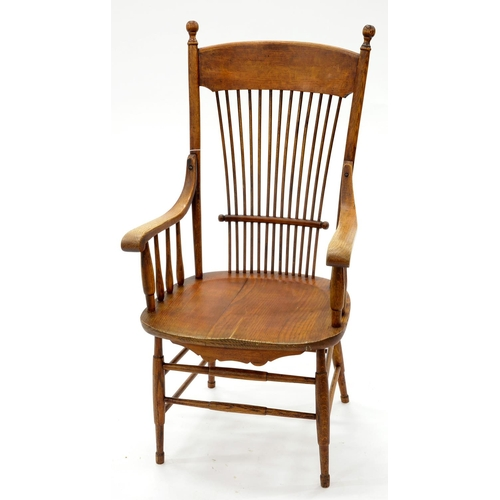 857 - A VICTORIAN ASH SPINDLE BACK ARMCHAIR, LATE 19TH C, WITH BALL FINIALS AND DOWN SCROLLED ARMS, ELM SE...