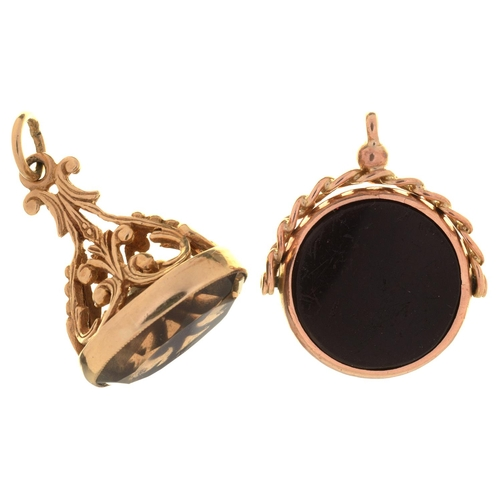86 - A 9CT GOLD FOB SEAL IN VICTORIAN STYLE, SET WITH A CITRINE, 27MM EXCLUDING RING, BIRMINGHAM, DATE LE...