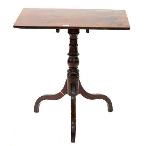 863 - A VICTORIAN MAHOGANY TRIPOD TABLE, MID 19TH C, THE OBLONG TOP ON TURNED PILLAR AND DOWNCURVED LEGS, ...