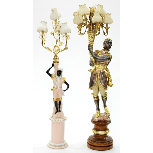 869 - A GILT AND SILVERED WOOD BLACKAMOOR CANDELABRUM, 20TH C, IN 18TH C STYLE, ON TURNED PEDESTAL AND ANO...
