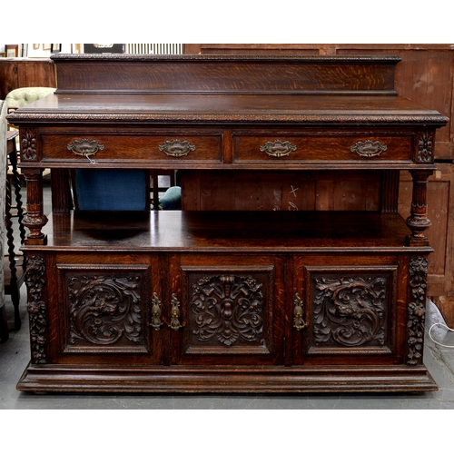 871 - A SUBSTANTIAL VICTORIAN CARVED OAK BUFFET BY MAPLE & CO, LATE 19TH C, THE LOWER PART ENCLOSED BY...