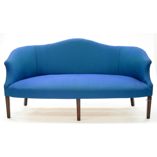 875 - A GEORGE III MAHOGANY SOFA, ON MOULDED LEGS, UPHOLSTERED IN BLUE FABRIC, SEAT HEIGHT 44CM, 188CM L...