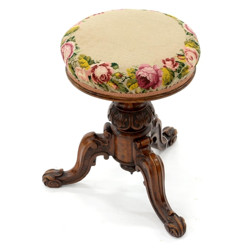 898 - A VICTORIAN CARVED WALNUT PIANO STOOL, 49CM H...