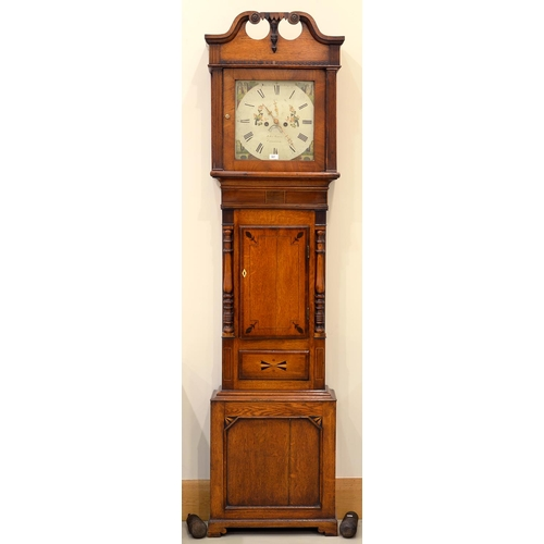 907 - AN INLAID OAK AND FRUITWOOD EIGHT DAY LONGCASE CLOCK, SOUTH WALES, MID 19TH C, THE PAINTED DIAL IN...