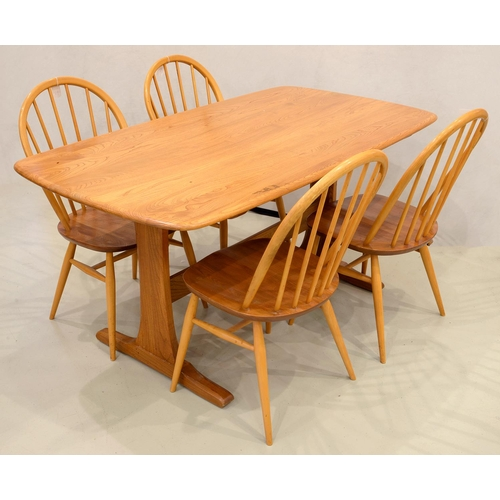 913 - AN ERCOL ASH TRESTLE ENDED DINING TABLE WITH OBLONG TOP, 74CM H; 80 X 152CM AND A SET OF FOUR ERCOL ...