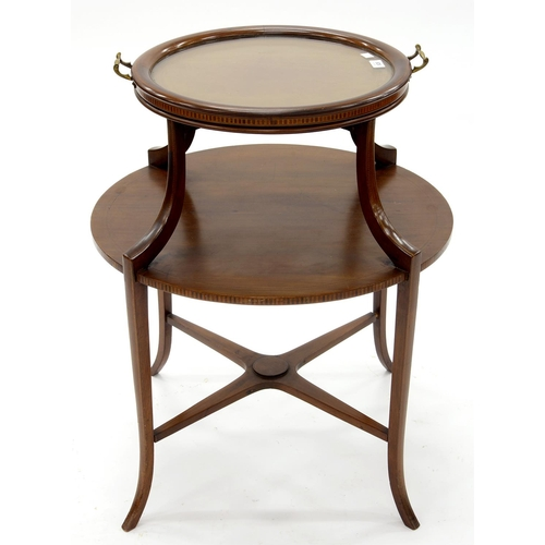 929 - AN EDWARDIAN ROUND MAHOGANY AND LINE INLAID ETAGERE, C1905, SURMOUNTED BY A GLASS BOTTOMED CIRCULAR ...