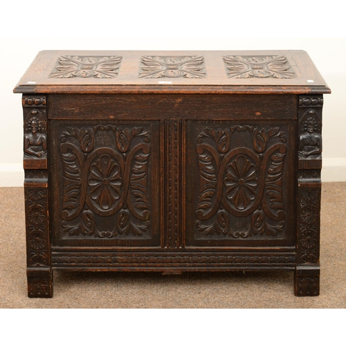 941 - A CARVED AND STAINED OAK CHEST, C1900, THE FRONT WITH DEMI FIGURE APPLIQUES, 65CM H; 92 X 48CM...