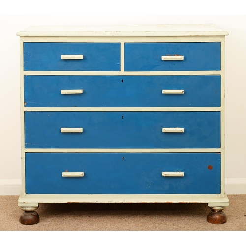 956 - A VICTORIAN PINE CHEST OF DRAWERS, LATE 19TH C, 98CM H; 102 X 45CM...