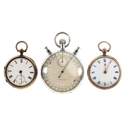 96 - A SILVER LEVER WATCH, RT ROSKELL LIVERPOOL 6949, WITH DIAMOND ENDSTONE, 51MM, LONDON 1875, ANOTHER S...
