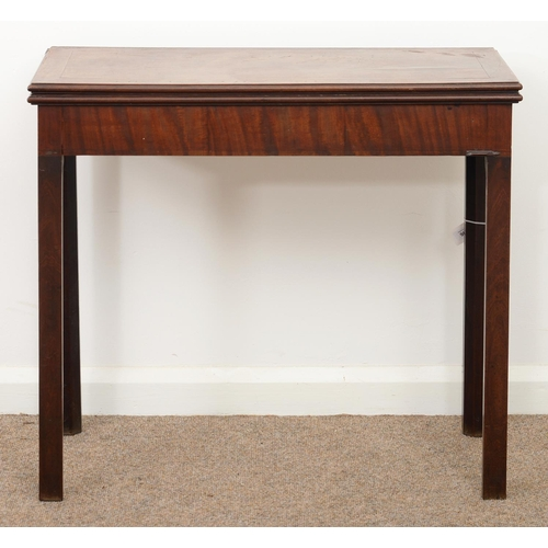 961 - A GEORGE III MAHOGANY CARD TABLE, LATE 18TH C, 71CM H; 81 X 40CM...