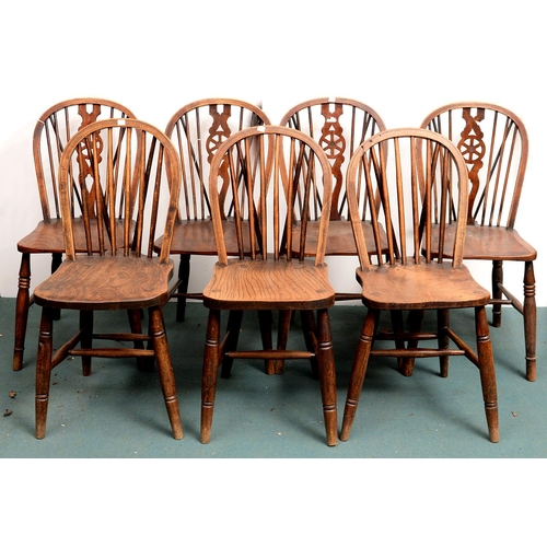 970 - A SET OF FOUR ASH WHEEL BACK CHAIRS, EARLY 20TH C AND A CONTEMPORARY SET OF THREE, SIMILAR (7)...