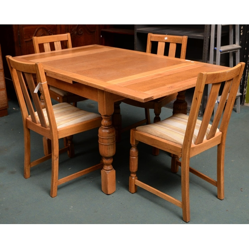972 - A LIGHT OAK DRAWLEAF TABLE AND A SET OF FOUR CHAIRS, TABLE 74CM H; 91 X 91CM...