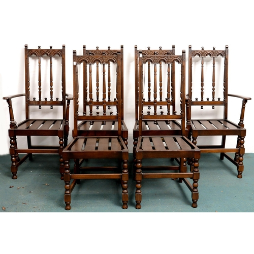 972a - A SET OF SIX STAINED ASH DINING CHAIRS, 20TH C, SEAT HEIGHT 45CM...