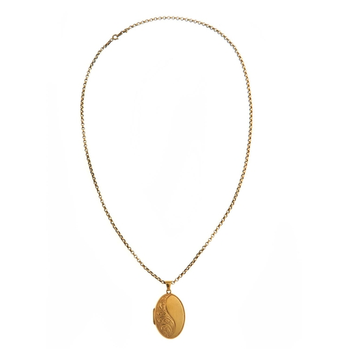 10 - AN OVAL 9CT GOLD LOCKET AND NECKLET, LOCKET 31MM EXCLUDING LOOP, CONVENTION MARKED, 7.6G...