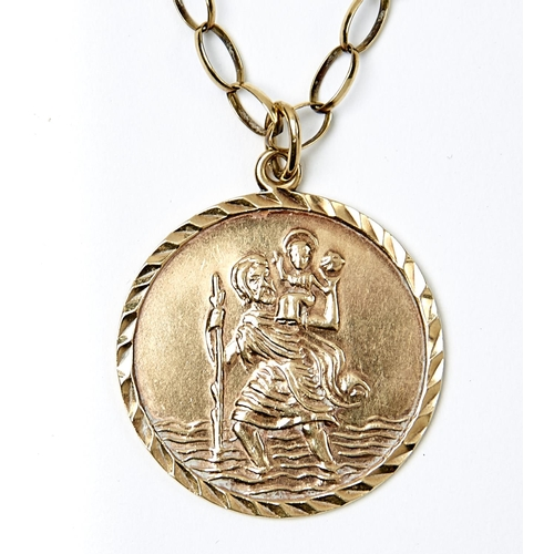 12 - A 9CT GOLD ST CHRISTOPHER PENDANT AND NECKLACE, PENDANT 28 MM DIAMETER, MARKS OBSCURED, 12.7G...