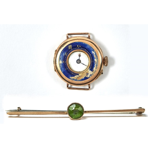 34 - A 9CT GOLD AND ENAMEL LADY'S WRISTWATCH AND A GREEN PASTE SET GOLD BAR BROOCH, MARKED 9CT, WRISTWATC...