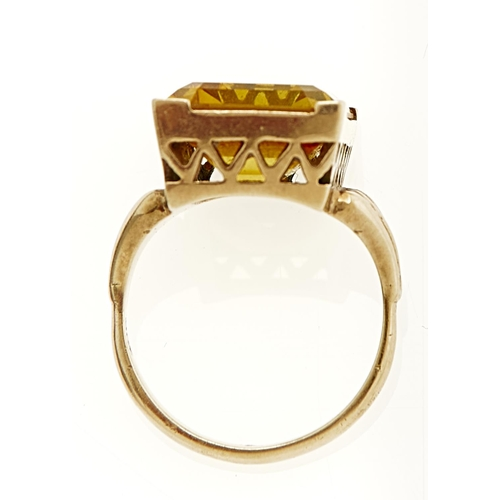 48 - A CITRINE RING IN GOLD MARKED 9CT, 7.2G, SIZE L...