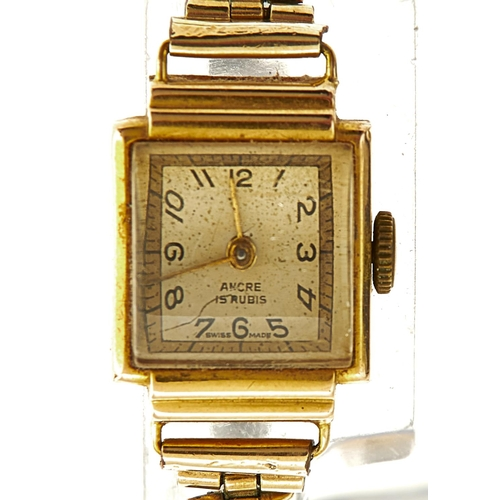 52 - AN ANCRE 18CT GOLD RECTANGULAR LADY'S WRISTWATCH, WIRE LUGS, 16 X 20MM...