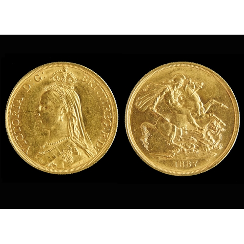 58 - GOLD COIN. TWO POUNDS 1887...
