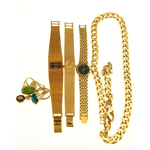 40 - THREE ROTARY AND OTHER GOLD PLATED LADIES WRIST WATCHES, A GOLD PLATED CURB NECKLACE & OTHER C...