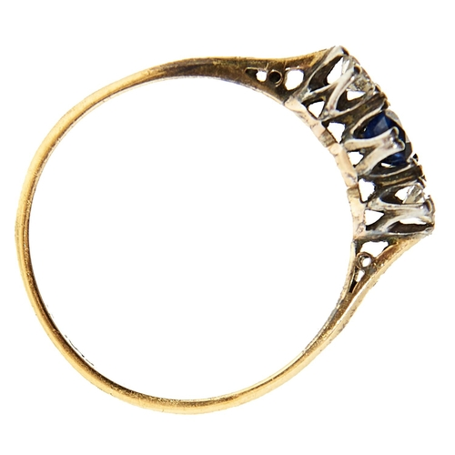 1 - <strong>A sapphire and diamond ring,</strong> the cushion shaped sapphire flanked by round brilliant...