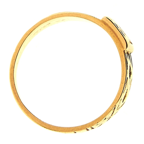 10 - <strong>A Victorian 18ct gold ring,</strong> Birmingham 1877, 3.1g, size L½...