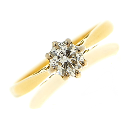 12 - <strong>A diamond solitaire ring,</strong> the old cut diamond of approximately 0.25ct, in 18ct gold...