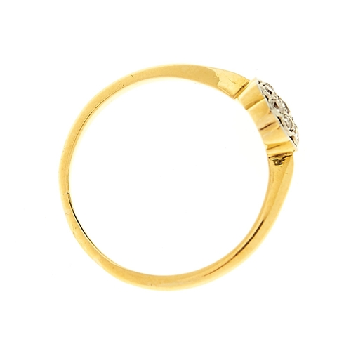 15 - <strong>A diamond cluster ring</strong> in gold marked 18ct, 2.8g, size R½...