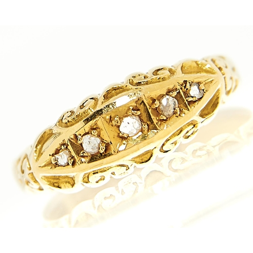 16 - <strong>A five stone diamond ring with chip diamonds,</strong> in 18ct gold, Birmingham 1912, 2.5g, ...