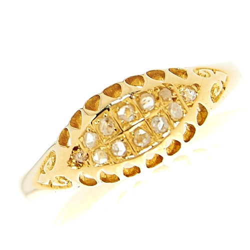 18 - <strong>An Edwardian twelve stone diamond ring in 18ct gold,</strong> Birmingham 1907, 2.2g, size O...