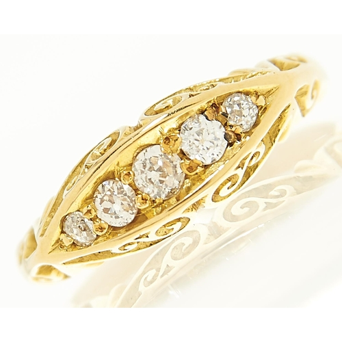 19 - <strong>An Edwardian five stone diamond ring in 18ct gold,</strong> Birmingham 1904, 4g, size J½...