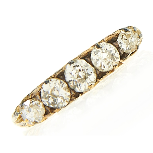 2 - <strong>A five stone diamond ring,</strong> the cushion shaped old cut diamonds in gold, 2.7g, size ...