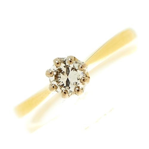 20 - <strong>A diamond solitaire ring,</strong> the round brilliant cut diamond of approximately 0.20ct, ...