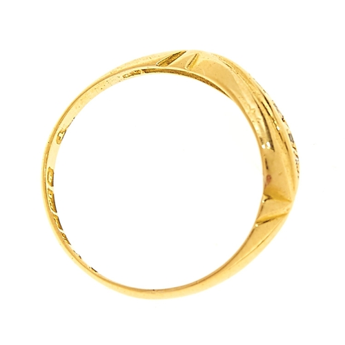 21 - <strong>A five stone diamond ring in 18ct gold,</strong> Birmingham 1919, 2g, size M...