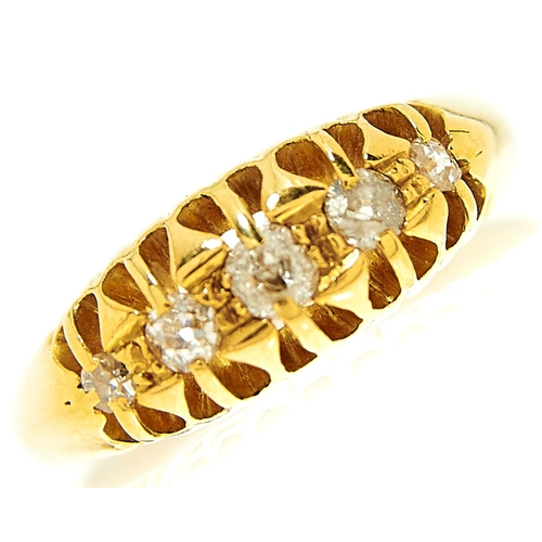 28 - <strong>A five stone diamond ring in 18ct gold,</strong> Birmingham 1911, 3.4g, size J½...