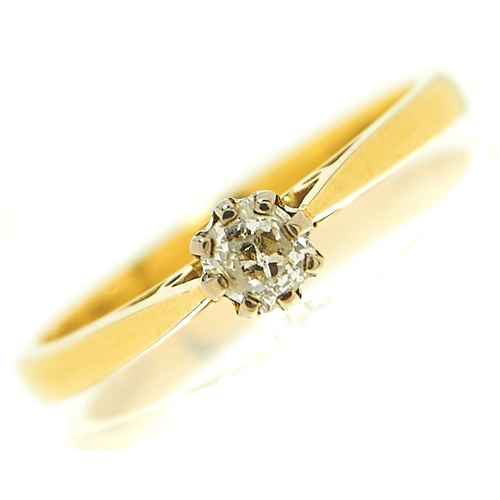 31 - <strong>A diamond solitaire ring,</strong> the old cut diamond of approximately 0.20ct, in 18ct gold...