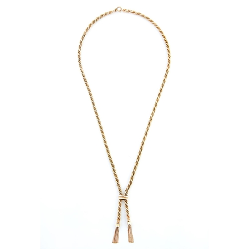 36 - <strong>A 9ct gold rope necklace,</strong> with two tassels, 61cm l, import marked, Sheffield 1972, ...