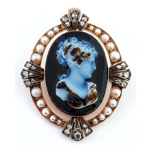 41 - <strong>A rose cut diamond, split pearl and sardonyx cameo brooch-pendant in gold,</strong> 42 (excl...
