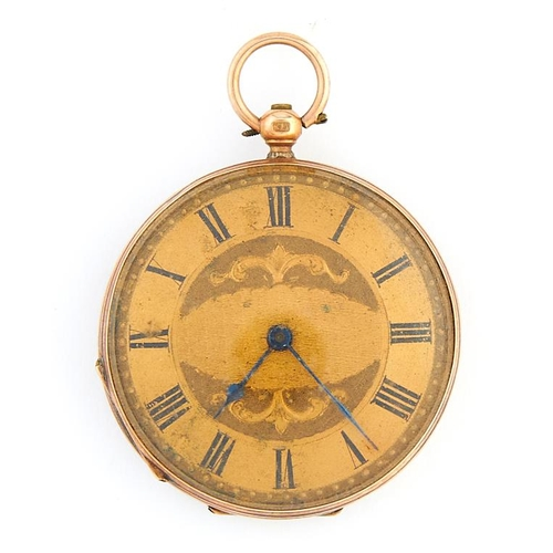 46 - <strong>A Swiss gold cylinder lady's watch,</strong> late 19th c, with engraved gilt dial and case b...