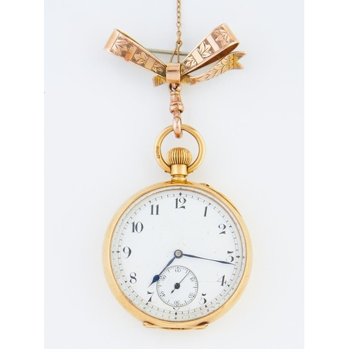 47 - <strong>An 18ct gold keyless lever lady's watch with enamel dial,</strong> in plain case, the back e...