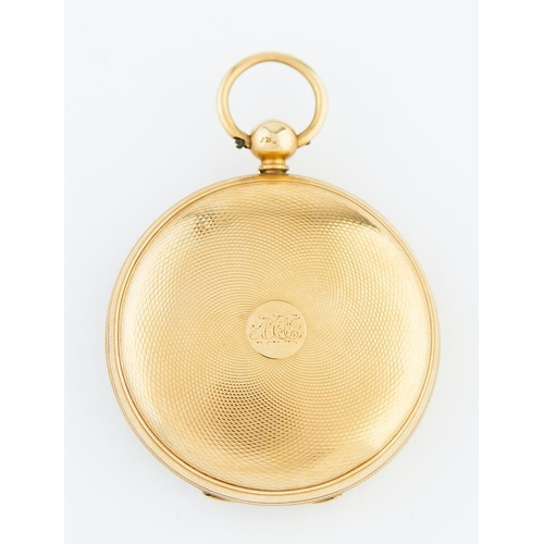 48 - <strong>A Victorian 18ct gold lever watch with engraved dial,</strong> in engine turned case, gold b...