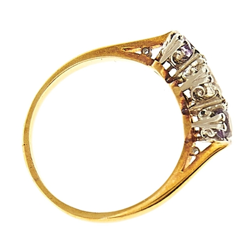 7 - <strong>An amethyst and diamond three stone ring</strong> with round brilliant cut diamond, gold hoo...
