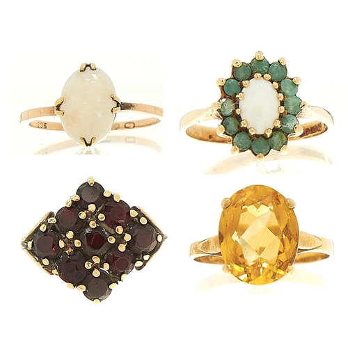 8 - <strong>Four gold rings,</strong> variously gem set, variously marked, 10.8g, sizes K½, M and P...