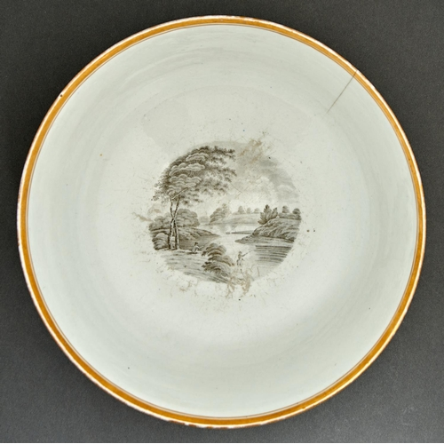 918 - A Chamberlain Worcester punch bowl, c1805, with five landscape bat prints between gilt borders, 29.5...